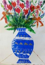 Hilary Rosen 'Blue and Gold Vase' monoprint £750