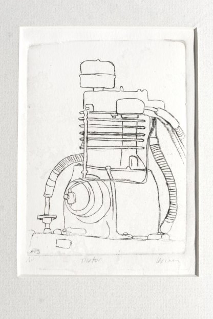 motor plexi drypoint etching