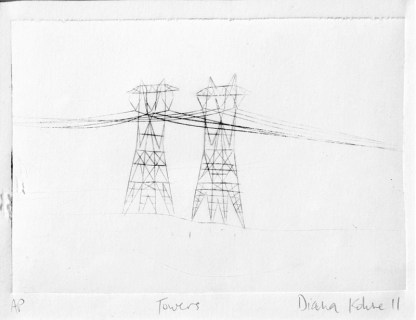 diana kohne electrical towers etching printmaking origianl art