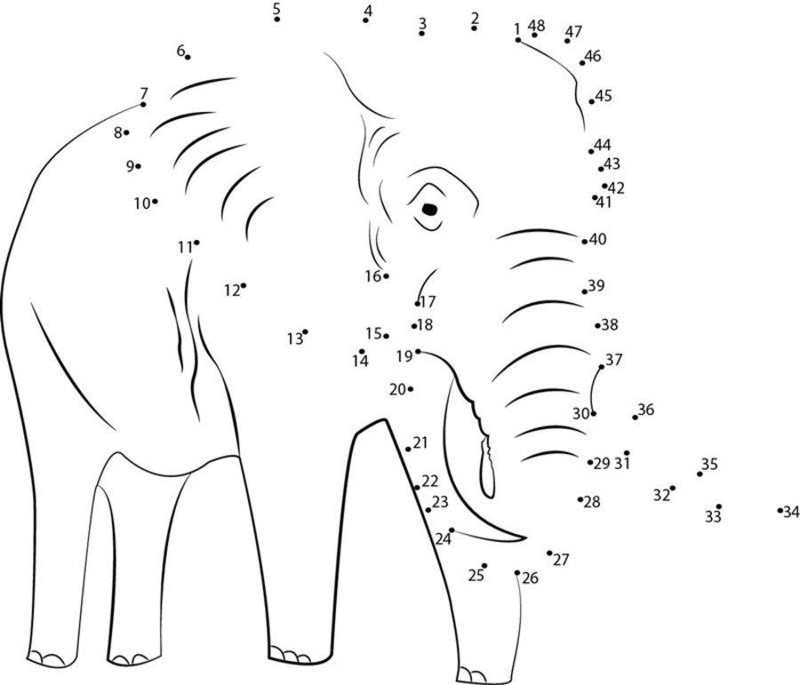Unir puntos: Elefante imprimible, gratis, para los niños y