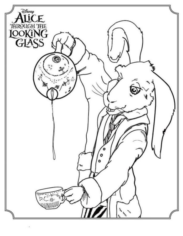 Coloriages: Alice de l'autre côté du miroir imprimable