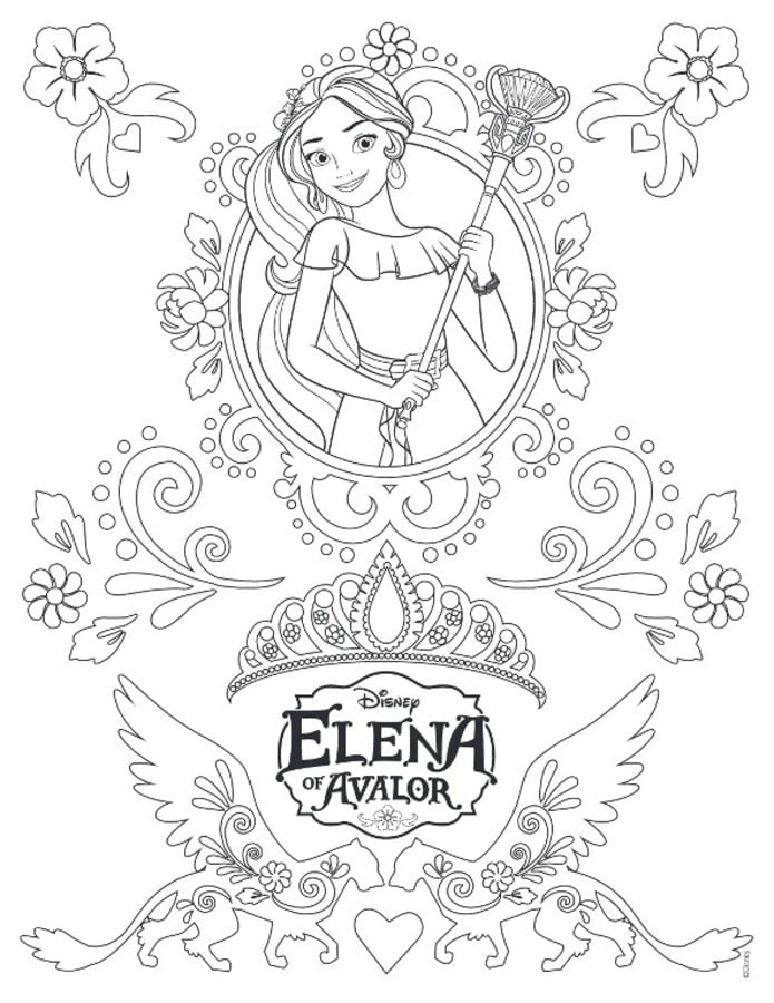 Dibujos para colorear: Elena de Ávalor imprimible, gratis