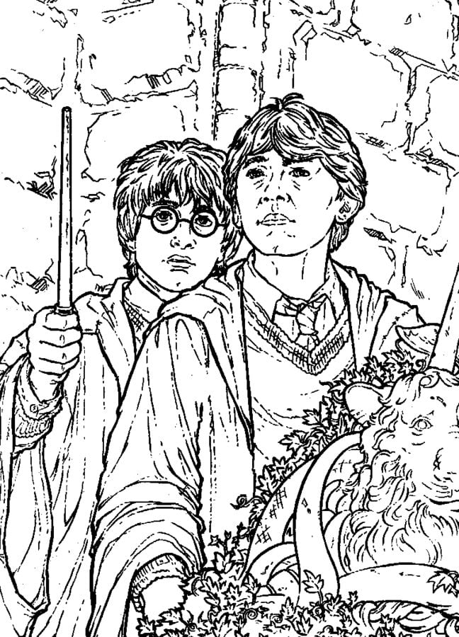 Ausmalbilder: Ausmalbilder: Harry Potter und die Kammer