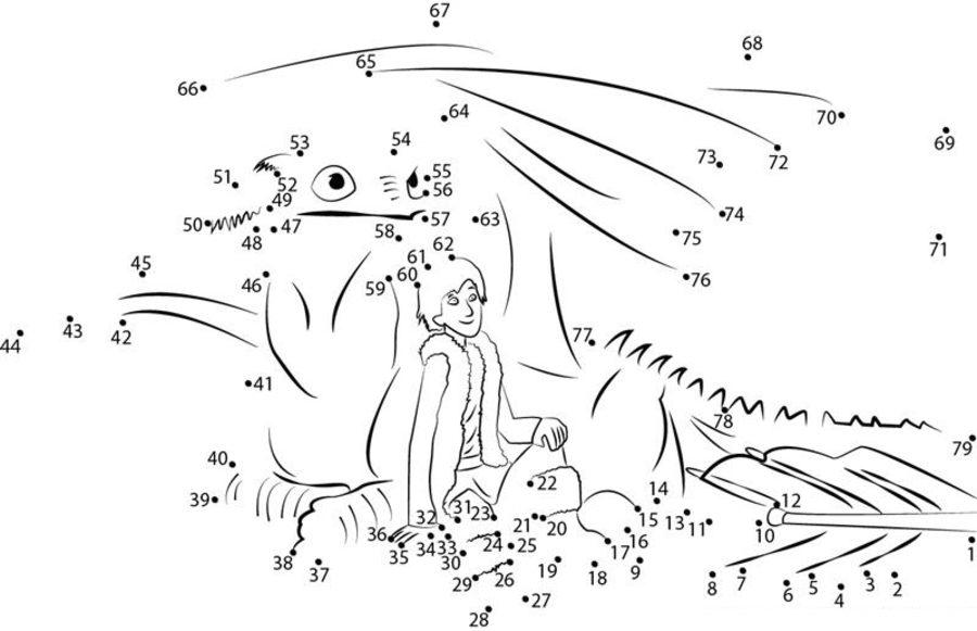 Unir puntos: Cómo entrenar a tu dragón imprimible, gratis
