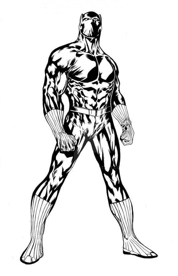 Kleurplaat Black Panther Marvel • Kidkleurplaat.nl