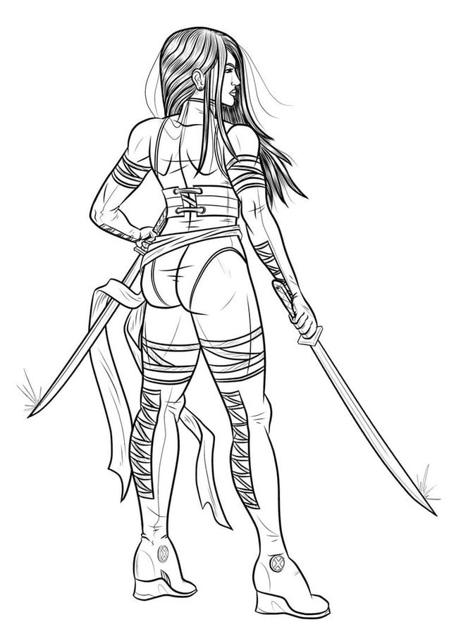 Coloring Pages Psylocke Printable For Kids Amp Adults Free