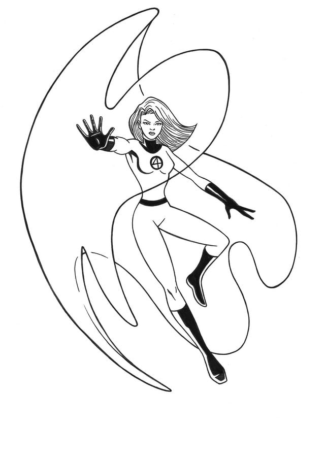 Coloring pages: Coloring pages: Invisible Woman, printable