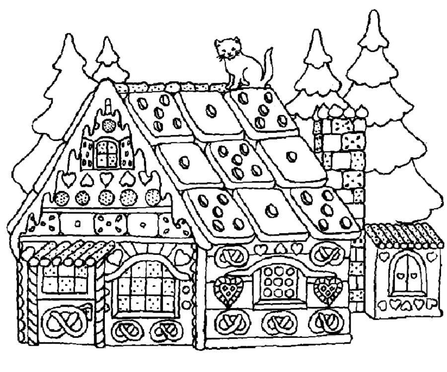 Dibujos Para Colorear Casa De Gengibre Imprimible Gratis Para Los