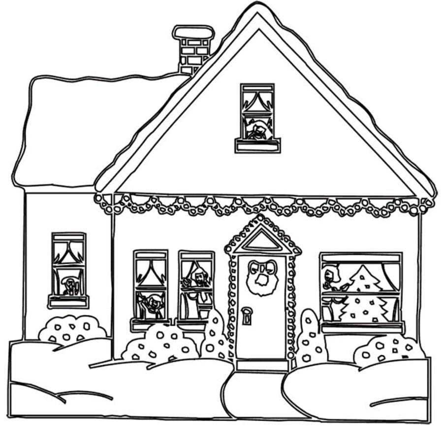 Dibujos para colorear: Casa de Gengibre imprimible, gratis