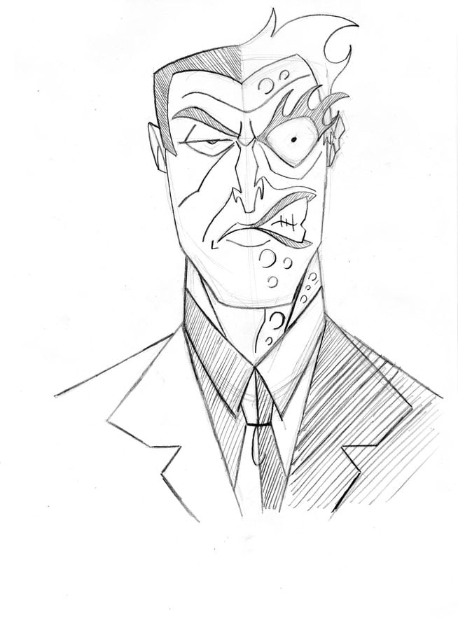Two coloring pages in one ~ Coloring pages: Coloring pages: Two-Face, printable for ...