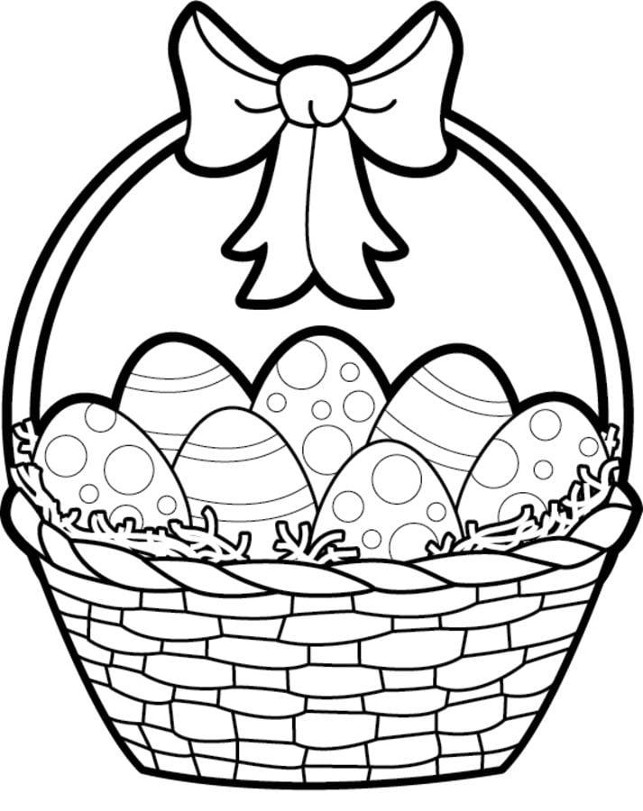 Dibujos Para Colorear Canasta De Pascua Imprimible