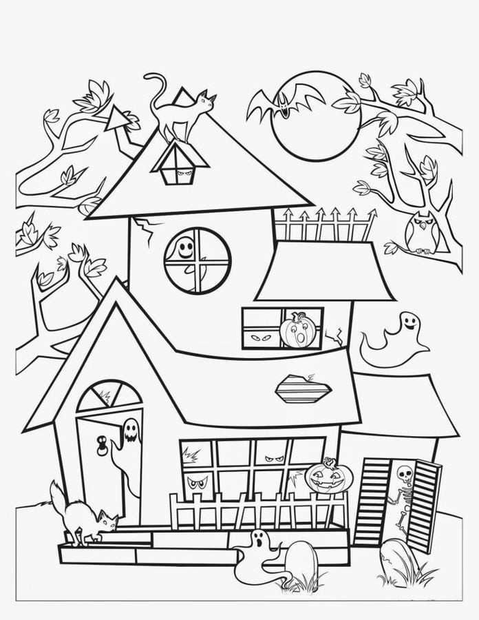 Coloring Pages Coloring Pages Haunted House Printable For Kids Adults Free
