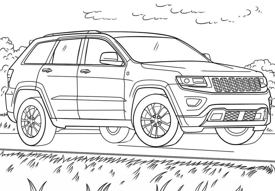 Dibujos para colorear: Jeep imprimible, gratis, para los