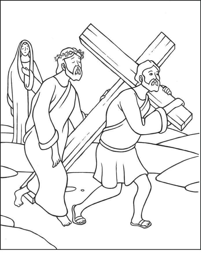 Disegni da colorare: La Via Crucis di Gesù stampabile