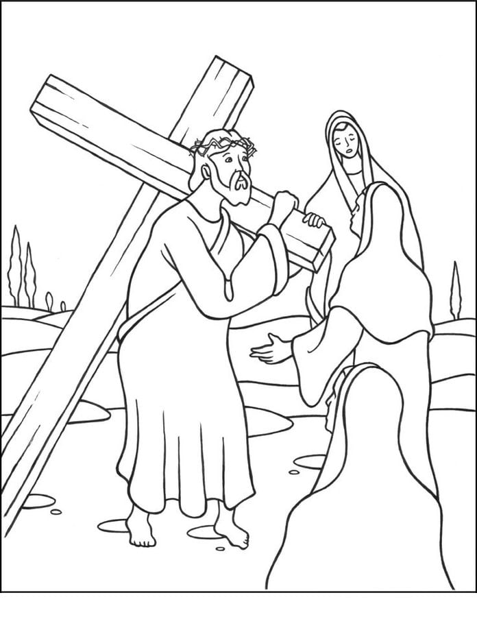 Coloring pages: Jesus Stations of the Cross, printable for