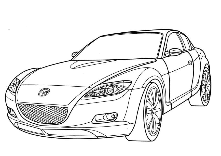 Dibujos para colorear: Mazda imprimible, gratis, para los