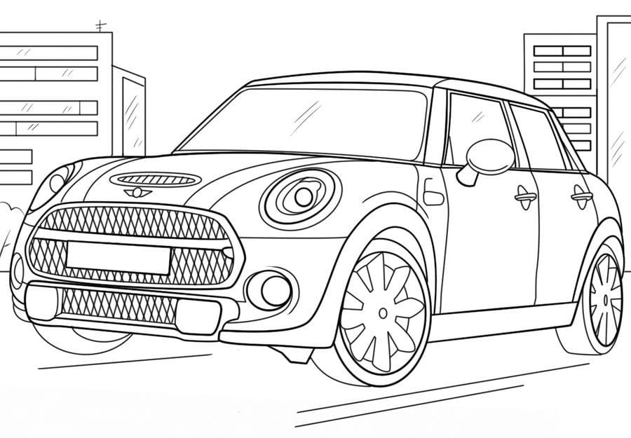 Dibujos para colorear: Mini Cooper imprimible, gratis