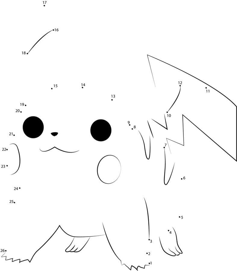 Unir puntos: Pikachu imprimible, gratis, para los niños y