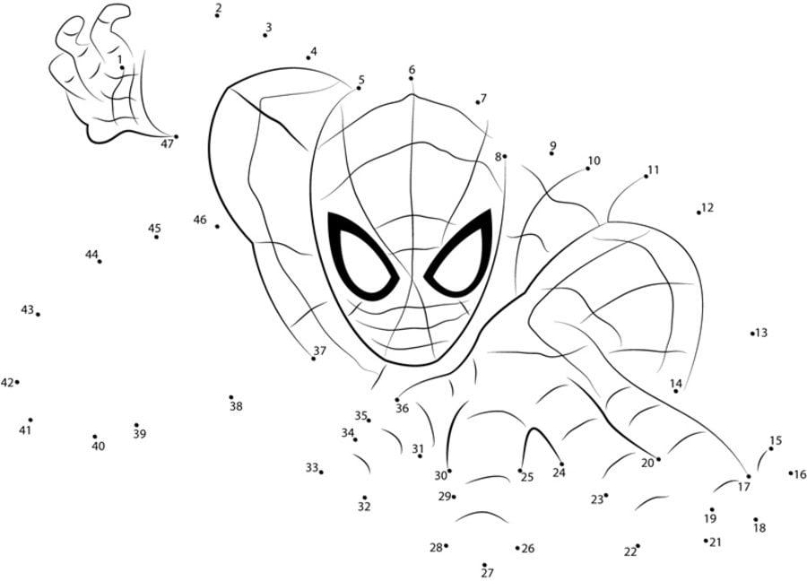 Unir puntos: Spider-Man imprimible, gratis, para los niños