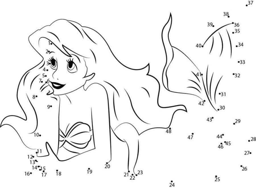 Punkt Zu Punkt Die Kleine Meerjungfrau Zum Ausdrucken