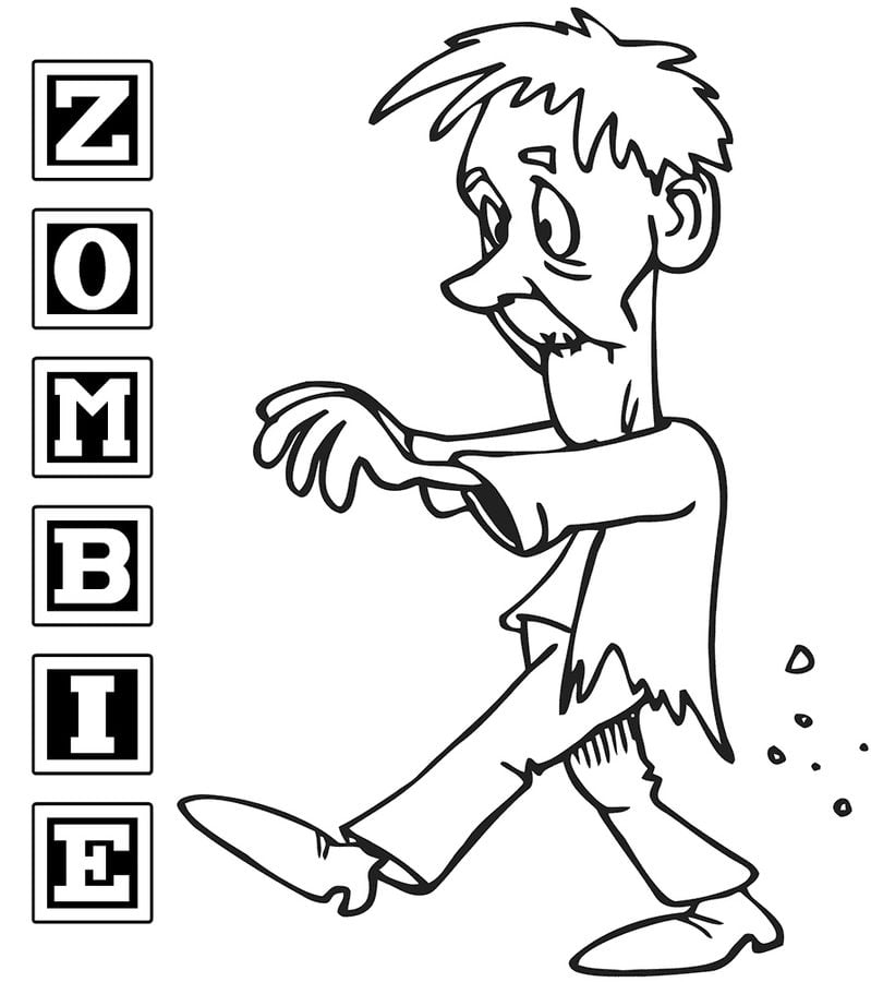 kolorowanki: kolorowanki: zombie do druku dla dzieci i