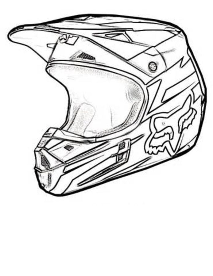 Dibujos para colorear: Casco de motocicleta imprimible