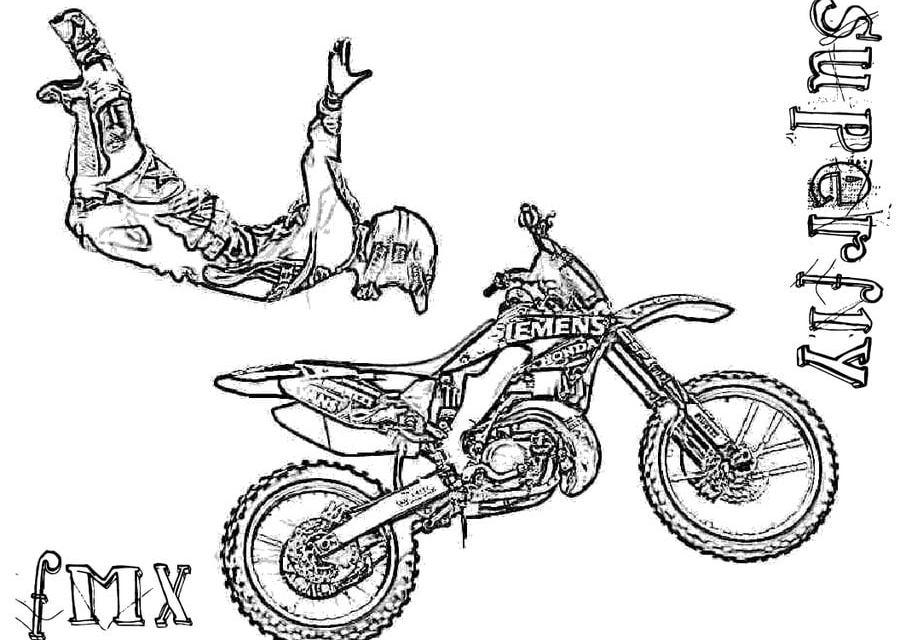 Coloriages: Moto-cross imprimable, gratuit, pour les enfants et les adultes