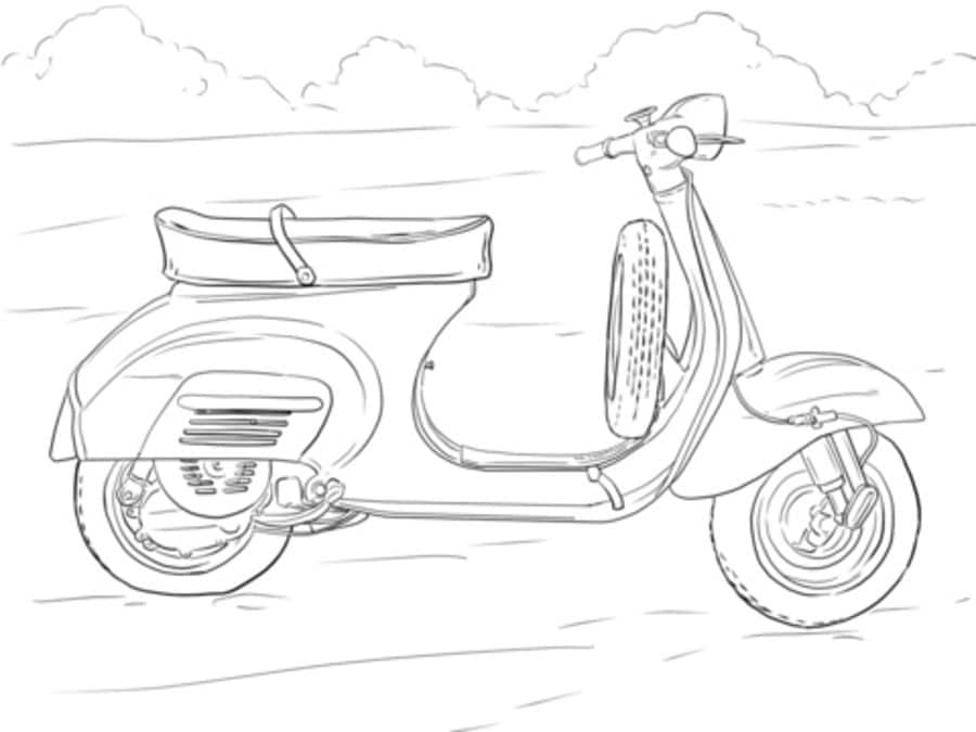 Ausmalbilder: Ausmalbilder: Motorroller zum ausdrucken