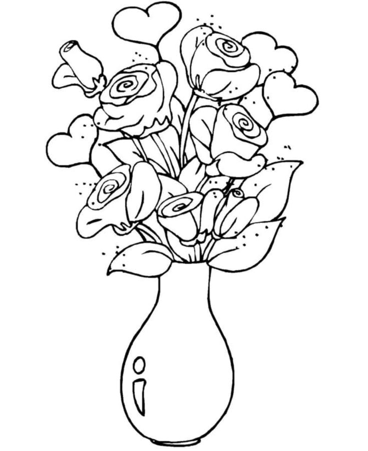 Bunch Of Flowers Drawing Bouquet Roses Drawing