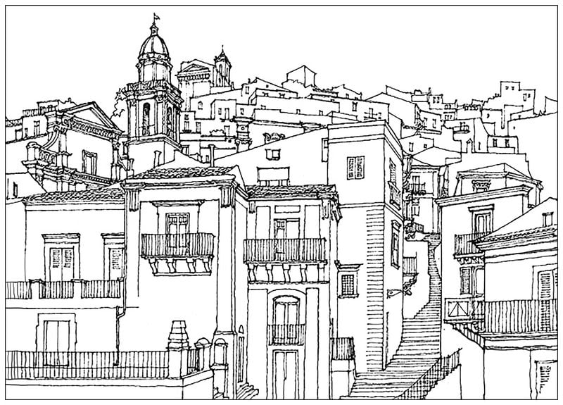 Coloring pages for adults Architecture printable free