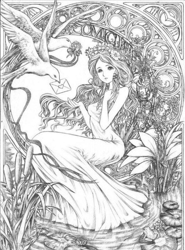 Fantasy Ausmalbilder für Erwachsene Geschichten