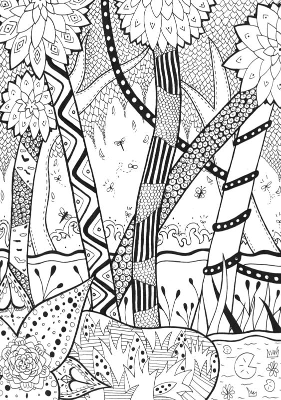 Coloring Pages For Adults: Jungle, Printable, Free To Download