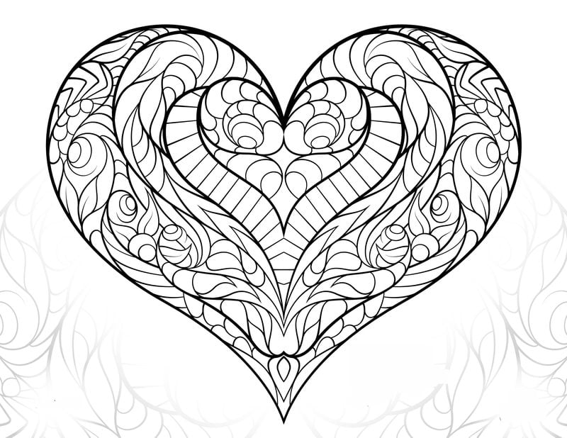 Coloring Pages For Adults: Love, Printable, Free To Download, JPG, PDF
