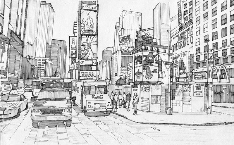 Coloring Pages For Adults: New York City, Printable, Free To Download, JPG,  PDF