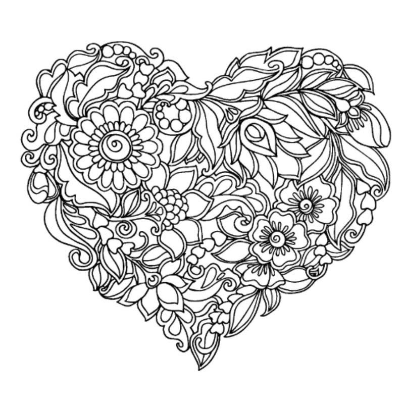 Kolorowanki dla dorosłych: Serce do druku, do pobrania za