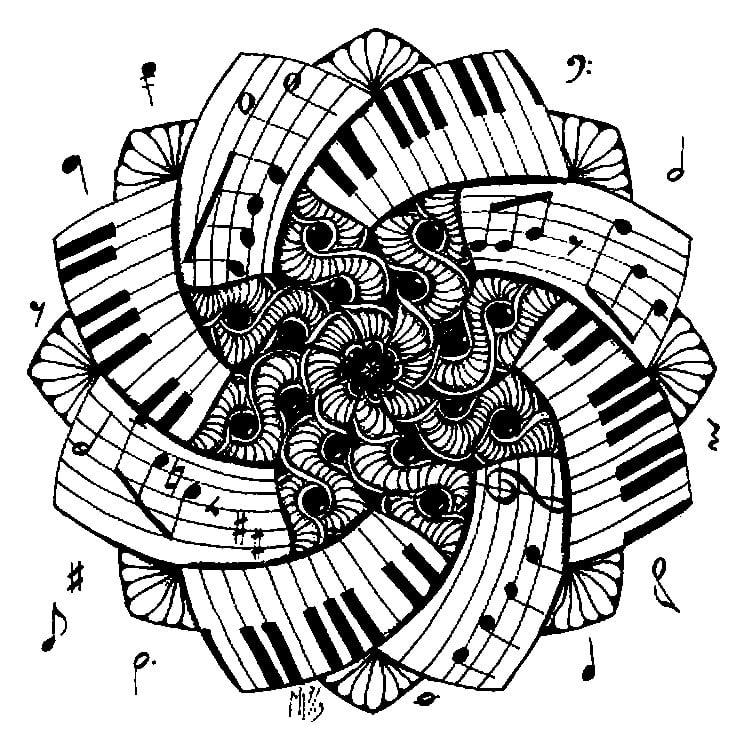 Disegni da colorare per adulti: Musica stampabile