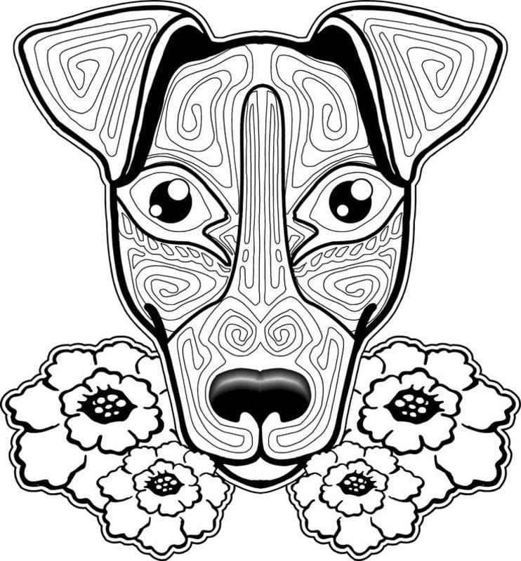 ausmalbilder für erwachsene: hunde zum ausdrucken