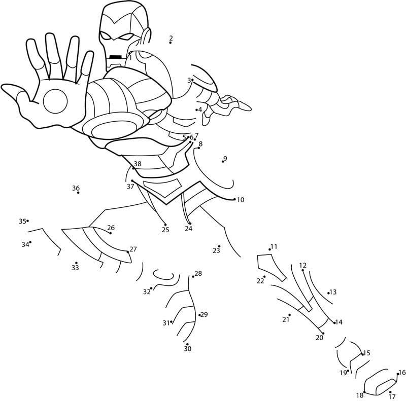 Unir puntos: Iron Man imprimible, gratis, para los niños y