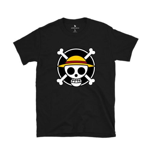Áo thun in logo hải tặc Mũ Rơm - áo đen