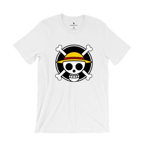 Áo thun in logo hải tặc Mũ Rơm - áo trắng