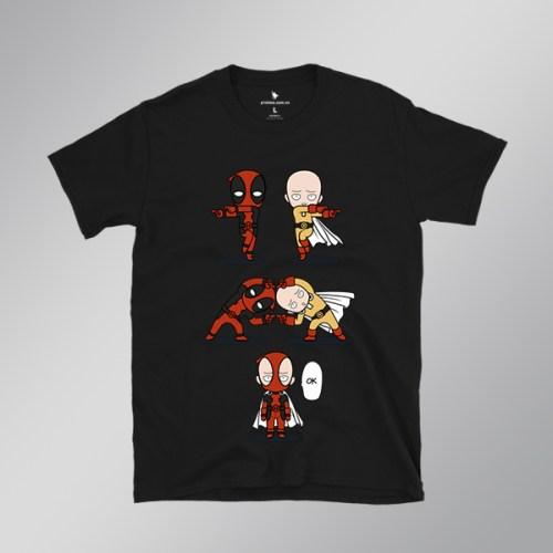 Áo anime Deadpool vs Saitama đen