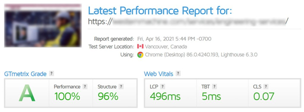 GTmetrix website performance score