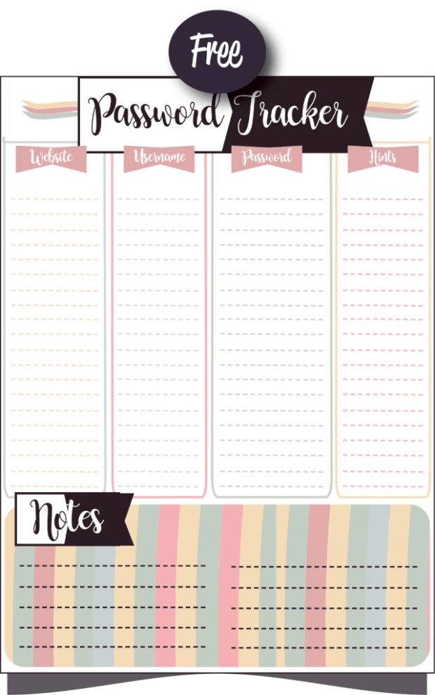 Free printable password-tracker