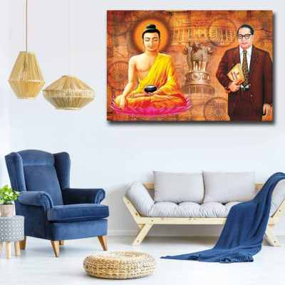 Buddha And Ambedkar Wall Art Painting