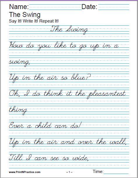 Cursive Writing Practice Book Free Download : cursive, writing, practice, download, Printable, Handwriting, Worksheets, Manuscript, Cursive
