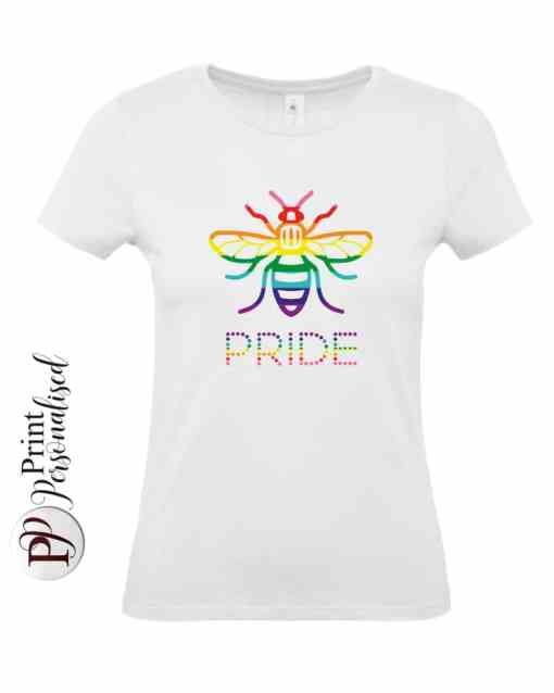 Manchester Pride Bee Ladies T-shirt. Printed with a rainbow coloured Manchester Bee on a white t-shirt.