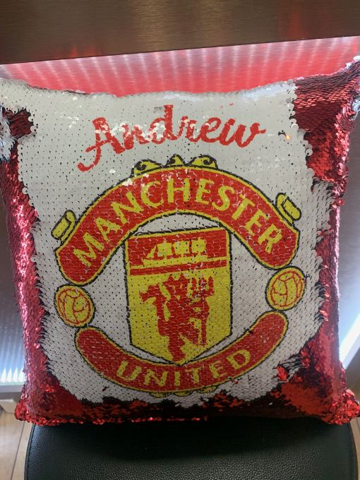 manchester united sequin cushion