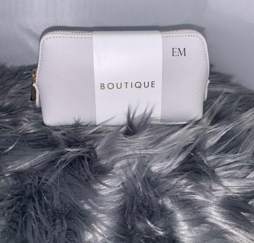 grey mini personalised make up bag