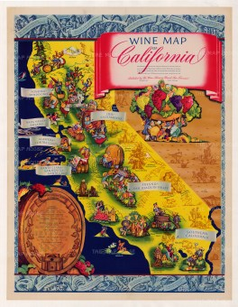 "Taylor: Wine Map of California. c.1960. An original vintage chromolithograph. 32"" x 42"". [USA9158]"