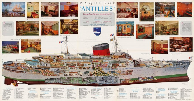 Paquebot 'Antilles': Cross-section of the French cruise ship operating in the tropics for the Compagnie Generale Transatlantique